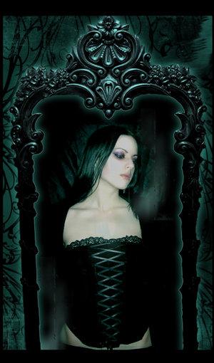 Mirror with sad lady