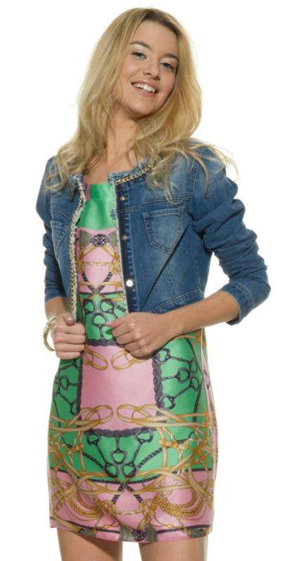 Abito-stampa-foulard-e-giacchino-in-jean-Lookbook-Motivi-primavera-2012