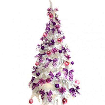 Albero Di Natale Bianco Con Addobbi Rosa E Viola