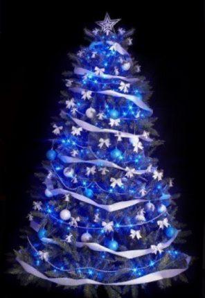 Albero Di Natale Blu E Argento