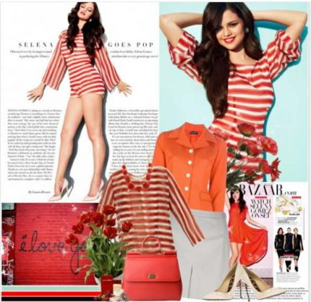 Selena Gomez outfit a righe