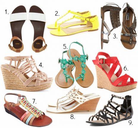Scarpe sandali e zeppe per estate
