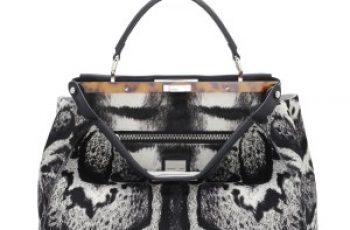 Fendi autunno inverno 2014 2015 WhiteBlack Calf Hair Peekaboo Bag
