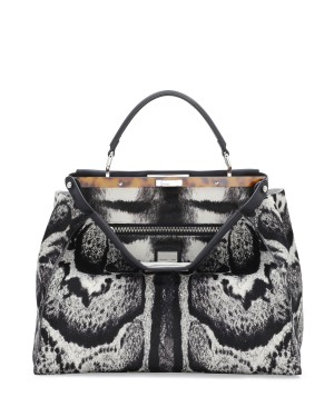 Fendi autunno inverno 2014 2015 WhiteBlack Calf Hair Peekaboo Bag