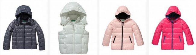 Piumini bambini Benetton inverno 2017