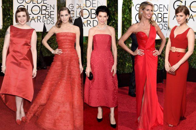 Abiti rossi delle star ai Golden Globes 2015