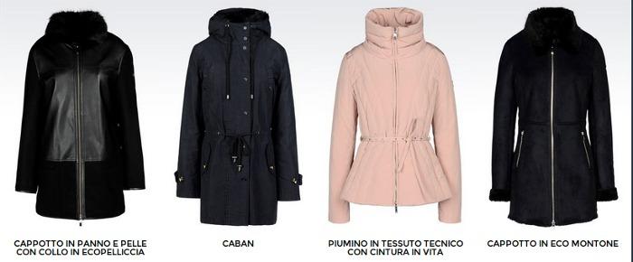 Giubbotti piumini e giacconi collezione e catalogo abbigliamento moda donna Armani Jeans autunno inverno