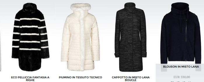 Giubbotti piumini e giacconi donna Armani Jeans autunno inverno