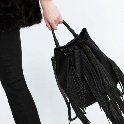 Zara Borse Primavera Estate 2016 Zaino Sacca Con Frange