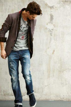 Blazer Con Jeans Look Uomo