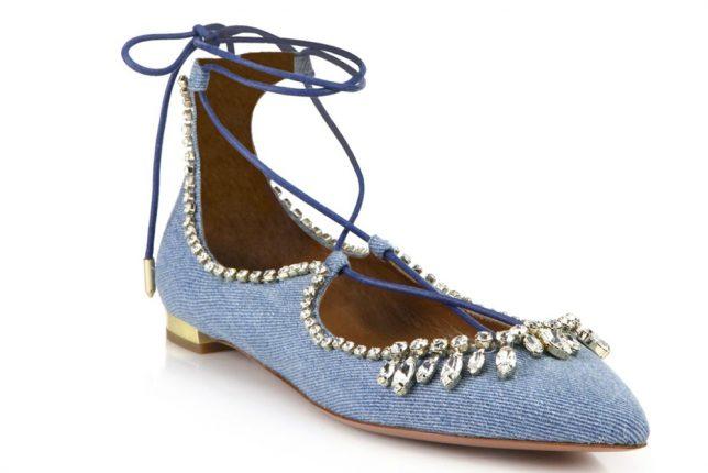Aquazzura Scarpe Christy Crystal Denim Lace Up Flats
