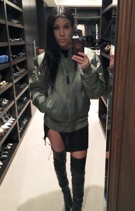 Kourtney Kardashian Bomber Look