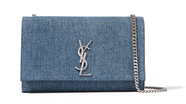 Saint Laurent Borsa Monogramme Medium Denim Shoulder Bag
