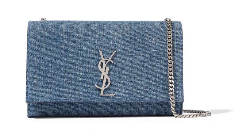 Saint Laurent Borsa Monogramme Medium Denim Shoulder Bag