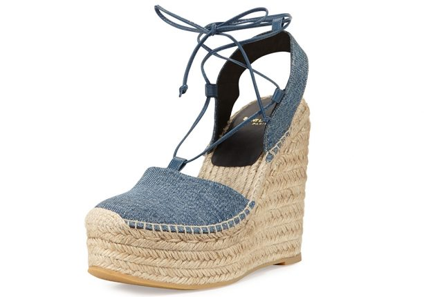 Saint Laurent Scarpe Platform Denim Espadrillas Zeppe