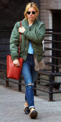 Sienna Miller bomber look