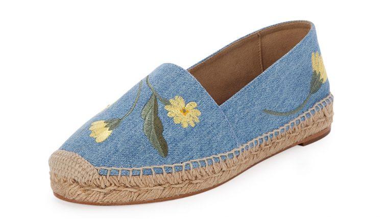 Stella McCartney Scarpe Floral Embroidered Denim Espadrillas
