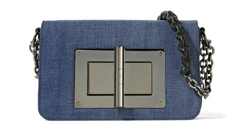 Tom Ford Borsa Natalia Leather Trimmed Denim Shoulder Bag