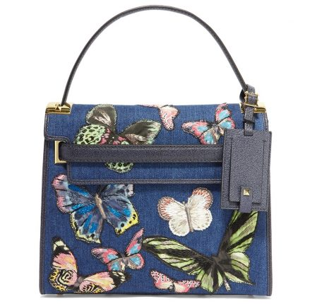 Valentino Borsa My Rockstud Embroidered Denim Tote