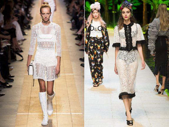 Abiti in pizzo trasparente Christian Dior Dolce Gabbana
