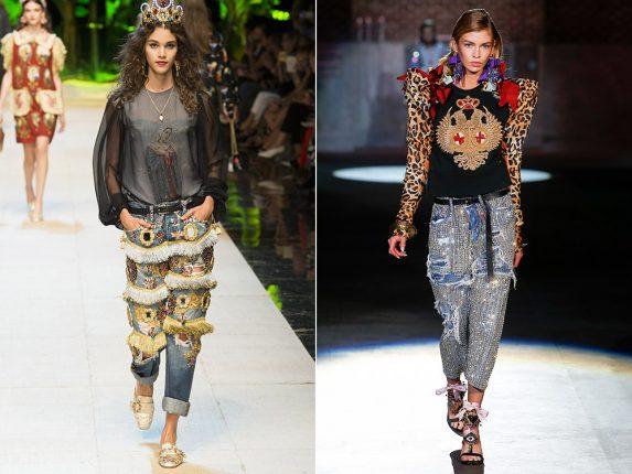 Jeans con frange e ricami Dolce Gabbana Dsquared2