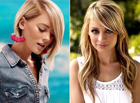 La migliore opzione per i capelli lunghi lunga frangia dagli occhi al mento