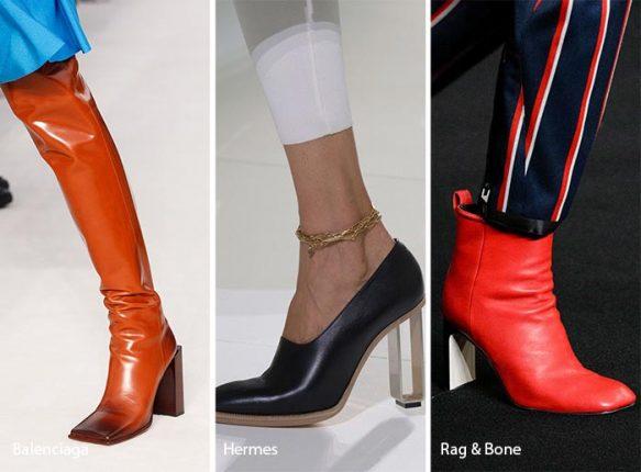 Scarpe con le tinte vivaci e stivali di pelle