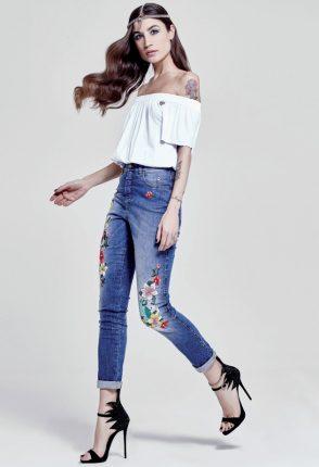 Denny Rose Jeans Con Fiori