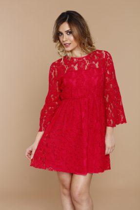 Vestito In Pizzo Rosso Coconuda