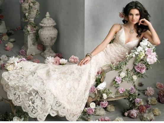 Abiti da sposa a sirena in pizzo floreale bianco