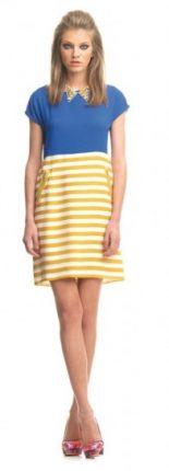 Abito azzurro con righe gialle e bianche Fornarina primavera estate 2013