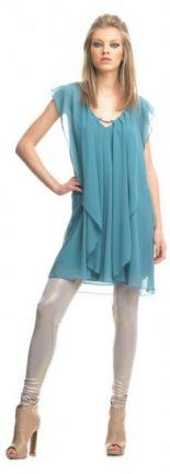 Abito azzurro e legging argento Fornarina primavera estate 2013