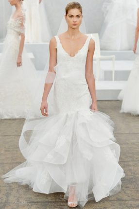Abito da sposa con gonna a strati Monique Lhuillier 2015