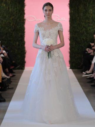 abito da sposa con scollatura ovale Oscar de la Renta 2015