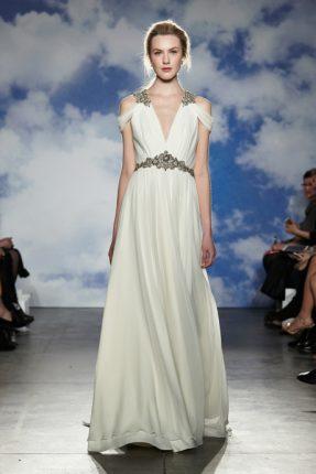 Abito da sposa dea greca con cintura gioiello Jenny Packham 2015