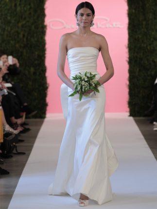 Abito da sposa senza spalline Oscar de la Renta 2015