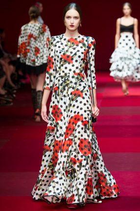 Abito fiori e pois Dolce & Gabbana primavera estate 2015