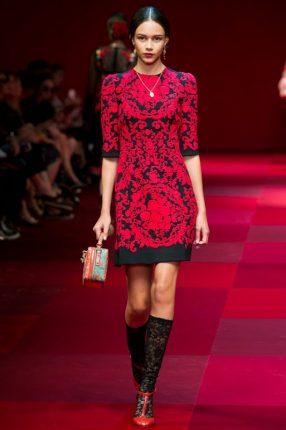 Abito manica tre quarti Dolce & Gabbana primavera estate 2015