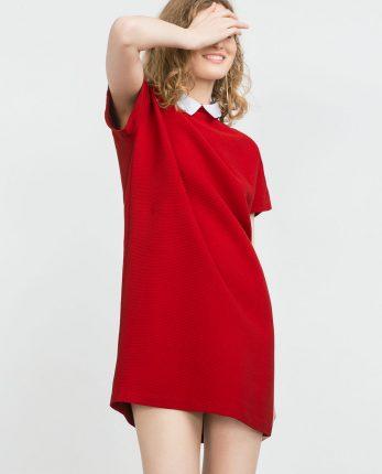 Abito rosso con colletto Zara primavera estate 2016