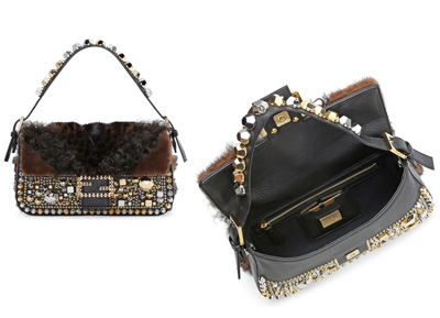Baguette with studs and fur embellished Fendi autunno inverno 2014 2015