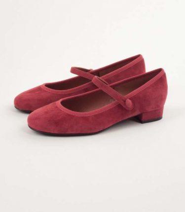 Ballerine rosse in suede con bottoncino Lazzari autunno inverno 2017