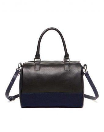 Bauletto color block in nero e blu Benetton borse autunno inverno 2017