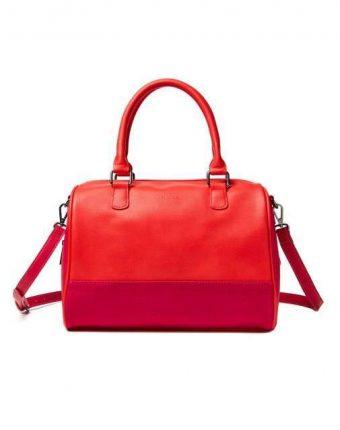 Bauletto color block in rosso Benetton borse autunno inverno 2017