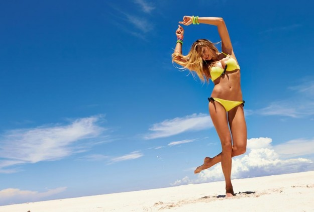 Bikini giallo con fiocchi neri Calzedonia Estate 2013