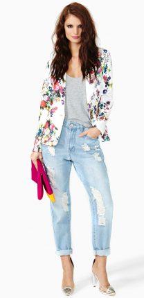 Blaser stampa fantasia fiori con jeans