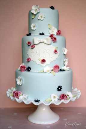 Cakes wedding - torte nunziali per matrimonio-celeste con fiorellini