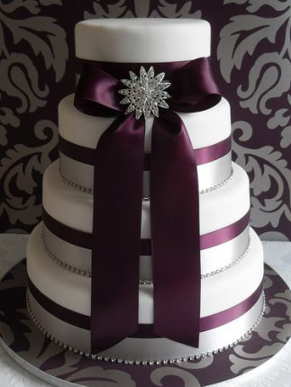 Cakes wedding - torte nunziali per matrimonio-con nastro melanzana