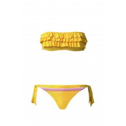 Calzedonia bikini giallo afascia con rouches