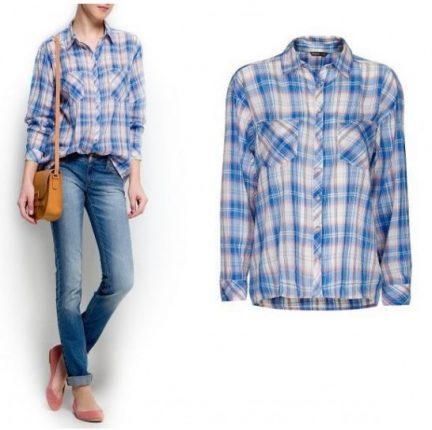 Camicia a quadri azzurri Mango primavera estate 2013