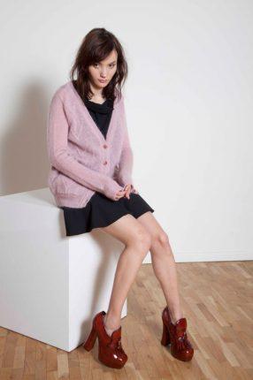 Cardigan rosa Annie P autunno inverno 2015